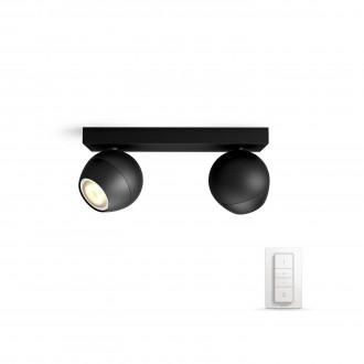 PHILIPS 50472/30/P7   PHILIPS-hue-Buckram Philips fali, mennyezeti hue okos világítás kerek távirányító szabályozható fényerő, állítható színhőmérséklet 2x GU10 500lm 2200 <-> 6500K fekete