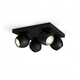 PHILIPS 50474/30/P6   PHILIPS-hue-Buckram Philips spot hue DIM hordozható kapcsoló + hue okos világítás kerek távirányító szabályozható fényerő, állítható színhőmérséklet, Bluetooth 4x GU10 1400lm 2200 <-> 6500K fekete