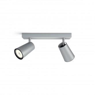 PHILIPS 50572/48/PN | Paisley Philips fali, mennyezeti lámpa kerek elforgatható alkatrészek 2x GU10 alumínium, fekete