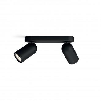 PHILIPS 50582/30/PN | Pongee Philips fali, mennyezeti lámpa kerek elforgatható alkatrészek 2x GU10 fekete