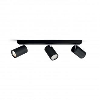 PHILIPS 50593/30/PN | Kosipo Philips fali, mennyezeti lámpa kerek elforgatható alkatrészek 3x GU10 fekete