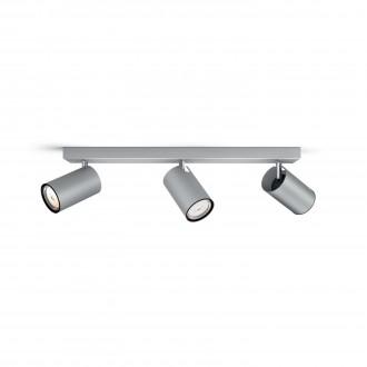 PHILIPS 50593/48/PN | Kosipo Philips fali, mennyezeti lámpa kerek elforgatható alkatrészek 3x GU10 alumínium