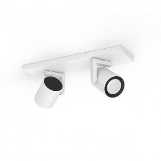 PHILIPS 50622/31/P7 | PHILIPS-hue-Argenta Philips spot hue okos világítás téglalap szabályozható fényerő, színváltós, állítható színhőmérséklet, Bluetooth 2x GU10 700lm 2200 <-> 6500K fehér