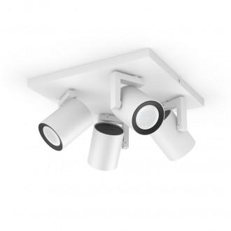 PHILIPS 50624/31/P7 | PHILIPS-hue-Argenta Philips spot hue okos világítás téglalap szabályozható fényerő, színváltós, állítható színhőmérséklet, Bluetooth 4x GU10 1400lm 2200 <-> 6500K fehér