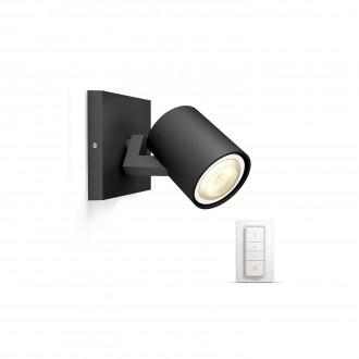 PHILIPS 53090/30/P7 | PHILIPS-hue_Runner Philips fali, mennyezeti hue okos világítás kerek távirányító szabályozható fényerő, állítható színhőmérséklet 1x GU10 250lm 2200 <-> 6500K fekete