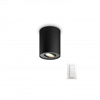 PHILIPS 56330/30/P7 | PHILIPS-hue_Pillar Philips mennyezeti hue okos világítás kerek távirányító szabályozható fényerő, állítható színhőmérséklet 1x GU10 250lm 2200 <-> 6500K fekete