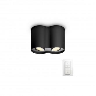 PHILIPS 56332/30/P7 | PHILIPS-hue-Pillar Philips mennyezeti hue okos világítás kerek távirányító szabályozható fényerő, állítható színhőmérséklet 2x GU10 500lm 2200 <-> 6500K fekete