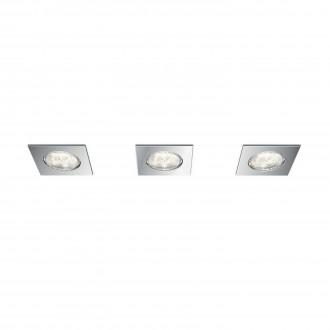 PHILIPS 59007/11/P0 | Dreaminess Philips beépíthető lámpa szabályozható fényerő 75x75mm 3x LED 1500lm 2700K IP65 króm
