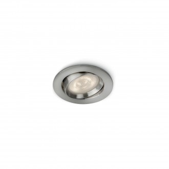 PHILIPS 59031/17/P0 | Ellipse Philips beépíthető WarmGlow lámpa szabályozható fényerő, billenthető Ø91mm 1x LED 500lm 2700K matt króm