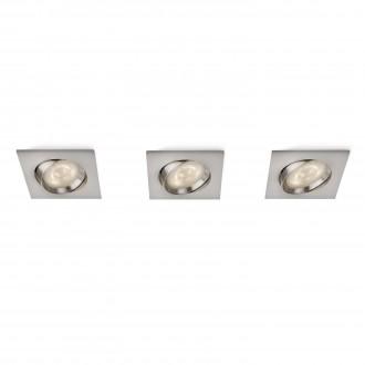 PHILIPS 59080/17/16 | Galileo Philips beépíthető lámpa szabályozható fényerő, 3 darabos szett, billenthető 100x100mm 3x LED 1500lm 2700K matt króm