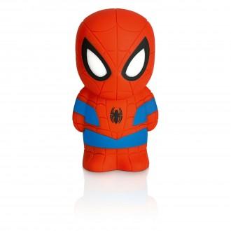 PHILIPS 71768/40/16 | SoftPal_Spiderman Philips hordozható lámpa kapcsoló 2x LED 5lm 2700K piros, többszínű