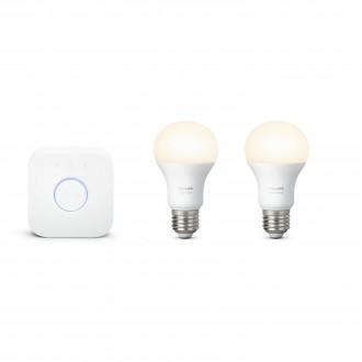 PHILIPS 8718696449554 | PHILIPS-hue Philips kezdőcsomag hue vezérlő egység + 2x E27 A60 hue LED fényforrás okos világítás normál A60 szabályozható fényerő 2x E27 806lm 2700K fehér