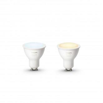 PHILIPS 8718696671184 | GU10 5,5W Philips spot LED fényforrás hue okos világítás 250lm 2200 <-> 6500K szabályozható fényerő, állítható színhőmérséklet, 2 darabos szett 45° CRI>80
