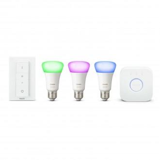 PHILIPS 8718696728796 | PHILIPS-hue Philips kezdőcsomag hue vezérlő egység + 3x E27 A19 RGB hue LED fényforrás + hue DIM hordozható kapcsoló okos világítás normál A19 távirányító szabályozható fényerő, színváltós 3x E27 806lm 2200 <-> 6500K fehér