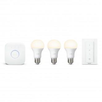 PHILIPS 8718696728987 | PHILIPS-hue Philips kezdőcsomag hue vezérlő egység + 3x E27 A60 hue LED fényforrás + hue DIM hordozható kapcsoló okos világítás normál A60 távirányító szabályozható fényerő 3x E27 806lm 2700K fehér
