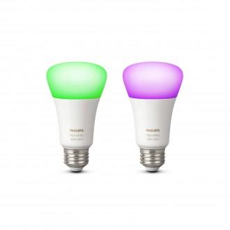PHILIPS 8718696729052 | E27 10W Philips normál A19 LED fényforrás hue okos világítás 806lm 2200 <-> 6500K szabályozható fényerő, színváltós, 2 darabos szett 160° CRI>80