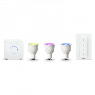 PHILIPS 8718696748930 | PHILIPS-hue Philips kezdőcsomag hue vezérlő egység + 3x GU10 RGB hue LED fényforrás + hue DIM hordozható kapcsoló okos világítás spot távirányító szabályozható fényerő, színváltós 3x GU10 250lm 2200 <-> 6500K fehér