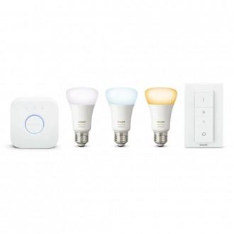 PHILIPS 8718696785232 | PHILIPS-hue Philips kezdőcsomag hue vezérlő egység + 3x E27 A60 hue LED fényforrás + hue DIM hordozható kapcsoló okos világítás normál A60 távirányító szabályozható fényerő, Bluetooth, 3 darabos szett 3x E27 806lm 2700K fehér