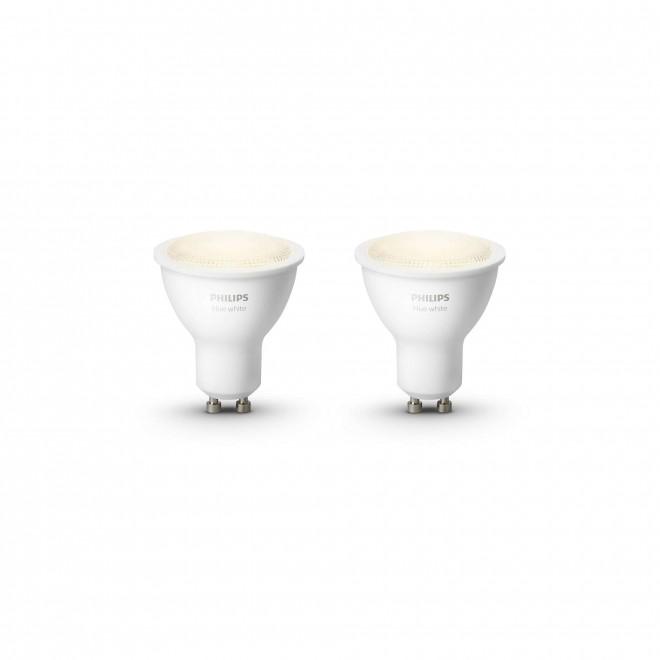 PHILIPS 8718699605537   GU10 5,5W Philips spot LED fényforrás hue okos világítás 300lm 2700K szabályozható fényerő, 2 darabos szett 46° CRI>80
