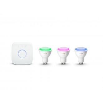 PHILIPS 8718699629274 | PHILIPS-hue Philips kezdőcsomag hue vezérlő egység + 3x GU10 RGB hue LED fényforrás spot szabályozható fényerő, színváltós, állítható színhőmérséklet, Bluetooth, 3 darabos szett 3x GU10 350lm 2200 <-> 6500K fehér