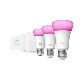 PHILIPS 8718699696917 | PHILIPS-hue Philips kezdőcsomag hue vezérlő egység + 3x E27 A60 hue WCA LED fényforrás + 2x hue DIM hordozható kapcsoló okos világítás normál A60 távirányító szabályozható fényerő, színváltós, állítható színhőmérséklet, Bluetooth,