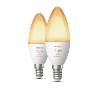 PHILIPS 8718699726355 | E14 6W Philips gyertya B39 LED fényforrás hue okos világítás 470lm 2200 <-> 6500K szabályozható fényerő, Bluetooth, 2 darabos szett