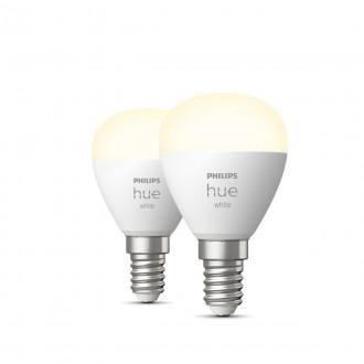 PHILIPS 8719514266902 | E14 5,5W -> 40W Philips kis gömb P45 LED fényforrás hue okos világítás 470lm 2700K szabályozható fényerő, Bluetooth, 2 darabos szett CRI>80