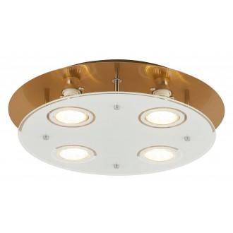 RABALUX 2255 | Naomi Rabalux mennyezeti lámpa kerek 4x GU10 1600lm 3000K bronz, fehér