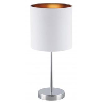 RABALUX 2528 | Monica Rabalux asztali lámpa 43cm vezeték kapcsoló 1x E27 króm, fehér, arany