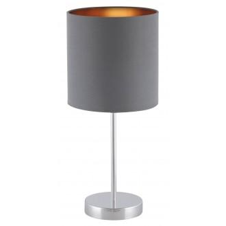 RABALUX 2538 | Monica Rabalux asztali lámpa 43cm vezeték kapcsoló 1x E27 króm, szürke, arany