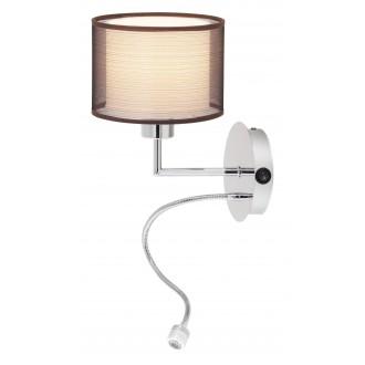 RABALUX 2629 | Anastasia Rabalux falikar lámpa két kapcsoló flexibilis 1x E27 + 1x LED 85lm króm, barna