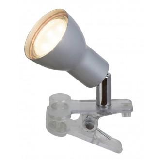 RABALUX 3476 | Fred Rabalux csiptetős lámpa vezeték kapcsoló elforgatható alkatrészek 1x GU10 250lm 3000K ezüst