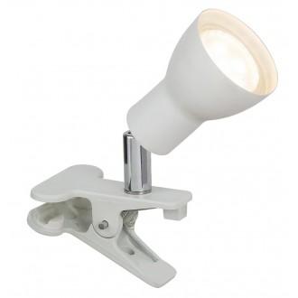 RABALUX 3477 | Fred Rabalux csiptetős lámpa vezeték kapcsoló elforgatható alkatrészek 1x GU10 250lm 3000K matt fehér