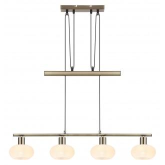 RABALUX 3917 | Sorina Rabalux függeszték lámpa ellensúlyos, állítható magasság 4x E14 antikolt bronz, opál