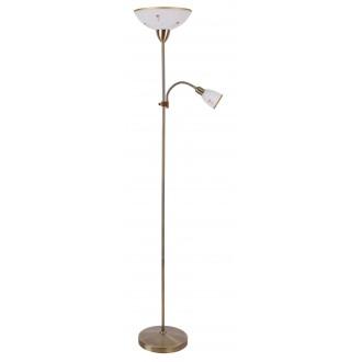 RABALUX 4009 | Art-Flower Rabalux álló lámpa 177,5cm vezeték kapcsoló flexibilis 1x E27 + 1x E14 fehér alabástrom, bronz