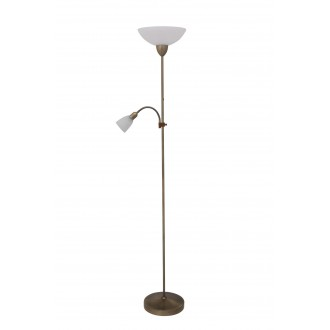 RABALUX 4019 | Pearl-classic Rabalux álló lámpa 177,5cm vezeték kapcsoló flexibilis 1x E27 + 1x E14 bronz, fehér alabástrom