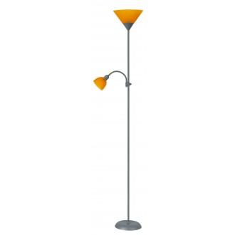 RABALUX 4026 | Action Rabalux álló lámpa 178cm vezeték kapcsoló flexibilis 1x E27 + 1x E14 ezüst, narancs