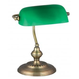 RABALUX 4038 | Bank Rabalux asztali lámpa 33cm vezeték kapcsoló 1x E27 bronz, zöld