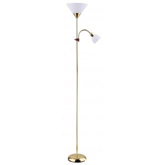 RABALUX 4060 | Action Rabalux álló lámpa 178cm vezeték kapcsoló flexibilis 1x E27 + 1x E14 arany, fehér