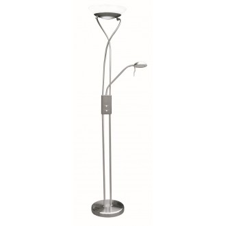 RABALUX 4077 | Gamma Rabalux álló lámpa 174cm fényerőszabályzós kapcsoló flexibilis, szabályozható fényerő 1x R7s 4600lm + 1x G9 370lm 2700K szatén króm, fehér