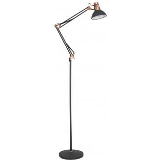 RABALUX 4523 | Gareth Rabalux álló lámpa 171,5cm vezeték kapcsoló elforgatható alkatrészek, állítható magasság 1x E27 matt fekete, vörösréz, fehér