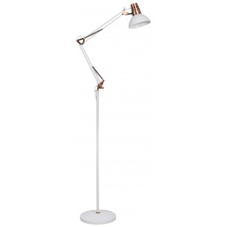 RABALUX 4525 | Gareth Rabalux álló lámpa 171,5cm vezeték kapcsoló elforgatható alkatrészek, állítható magasság 1x E27 matt fehér, vörösréz
