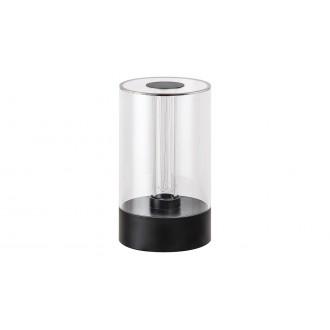 RABALUX 5006 | Sajan Rabalux asztali lámpa 15,5cm fényerőszabályzós érintőkapcsoló szabályozható fényerő 1x LED 80lm 3000K fekete, átlátszó