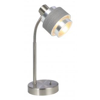 RABALUX 5384 | Basil Rabalux asztali lámpa 32cm kapcsoló 1x E14 szatén króm, szürke