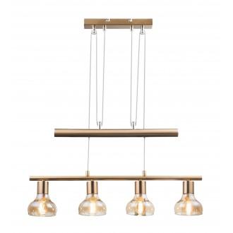 RABALUX 5551 | Holly-RA Rabalux függeszték lámpa ellensúlyos, állítható magasság 4x E14 antikolt arany, borostyán