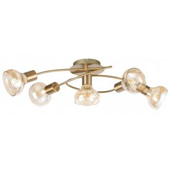 RABALUX 5552 | Holly-RA Rabalux mennyezeti lámpa 5x E14 antikolt arany, borostyán