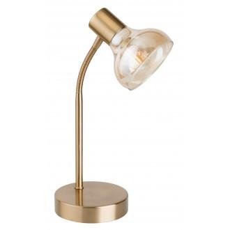 RABALUX 5554 | Holly-RA Rabalux asztali lámpa 34cm vezeték kapcsoló flexibilis 1x E14 antikolt arany, borostyán