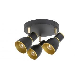 RABALUX 5607 | Mackenzie Rabalux spot lámpa elforgatható alkatrészek 3x E14 fekete, arany