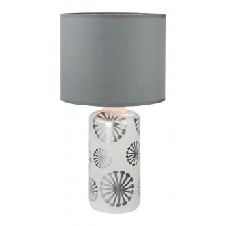 RABALUX 6029 | Ginger Rabalux asztali lámpa 49cm vezeték kapcsoló 1x E27 fehér, ezüst, szürke
