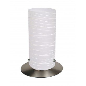 RABALUX 6339 | Aurel1 Rabalux asztali lámpa 24,5cm vezeték kapcsoló 1x E27 szatén, króm, fehér csíkos